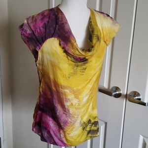 Zara Basic yellow, purple and green silk top S